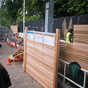 Stephen, Liam, Danica and Simon from Groundworks install trellis structures at Brondesbury Park Station as part of the build of the station's energy garden. The  Energy Gardens is a pan-London community garden project where reclaimed land alongside over ground train stations and track are cultivated by local community groups. Up 50 gardens are projected with the rail network being the connection grid. The project is a collaboration between Repowering London, local community groups and station managers working for TFL.