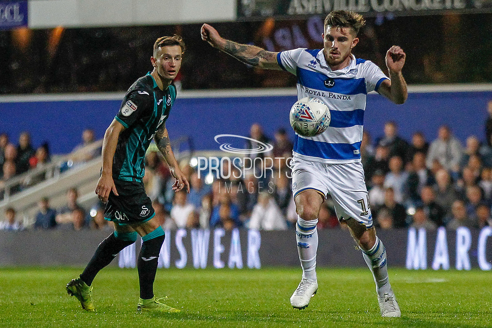 Queens Park Rangers forward Ryan Manning (14) controls the ball during the EFL Sky Bet Championship match between Queens Park Rangers and Swansea City at the Kiyan Prince Foundation Stadium, London, England on 21 August 2019.