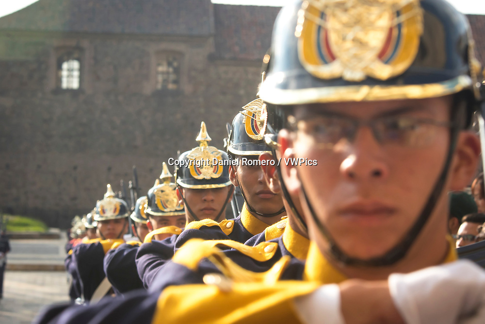 Ceremony of change of guard of the Battalion Presidential Guard, in the Palace of Nariño, presidential house.