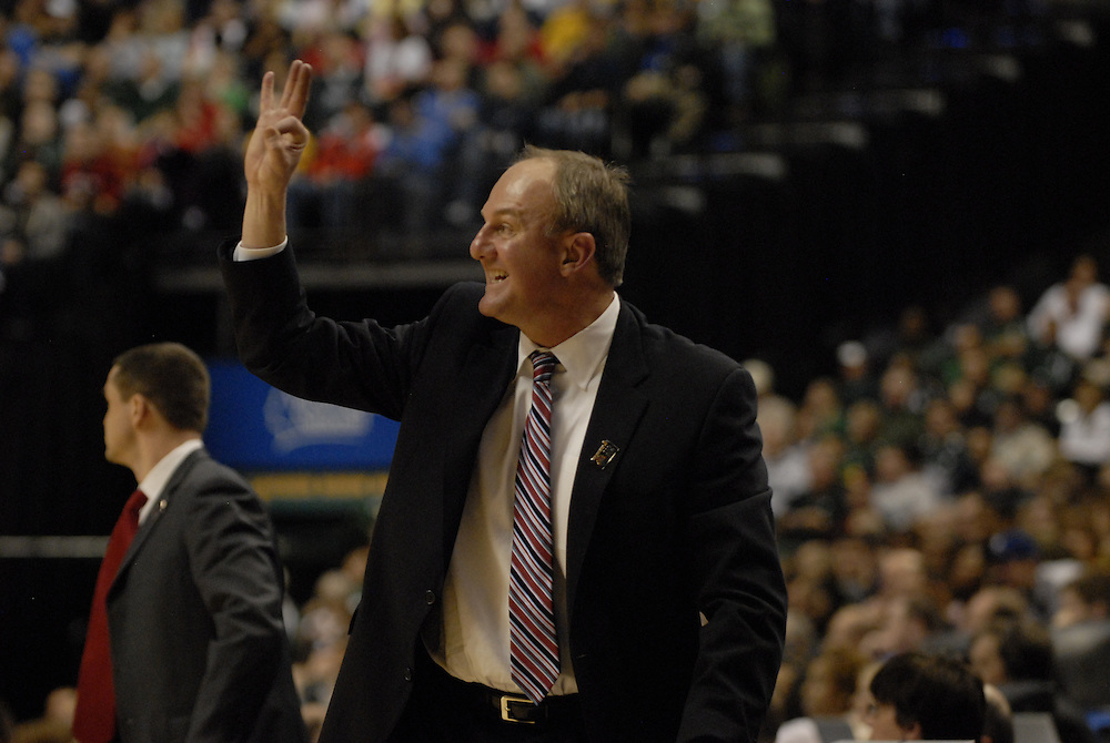 Ohio State coach Thad Matta asks the refs for a three second call in the second half of the Big Ten Tournament semifinals in Indianapolis, on March, 11, 2011, at Conseco Fieldhouse. Ohio State defeated Michigan 68-61.