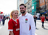 A Wales and England fan enjoying the pre match atmosphere<br /> <br /> Photographer Simon King/Replay Images<br /> <br /> Friendly - Wales v England - Saturday 17th August 2019 - Principality Stadium - Cardiff<br /> <br /> World Copyright © Replay Images . All rights reserved. info@replayimages.co.uk - http://replayimages.co.uk