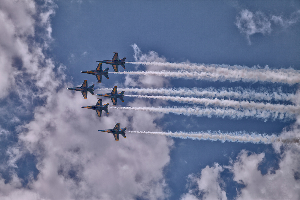 The US Navy Blue Angels fly over the Charles River as part o the 4th of July Celebrations.