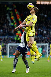 Jan Vertonghen of Tottenham Hotspur heads clear from Brown Ideye of West Brom - Photo mandatory by-line: Rogan Thomson/JMP - 07966 386802 - 31/01/2015 - SPORT - FOOTBALL - West Bromwich, England - The Hawthorns - West Bromwich Albion v Tottenham Hotspur - Barclays Premier League.