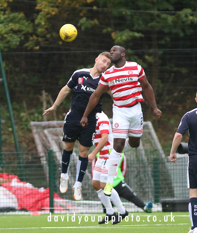 Hamilton Academical's Christian Nade and Dundee&rsquo;s Daryll Meggatt  - Hamilton Academical v Dundee, Ladbrokes Premiership at New Douglas Park<br /> <br /> <br />  - &copy; David Young - www.davidyoungphoto.co.uk - email: davidyoungphoto@gmail.com