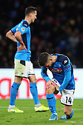 Dries Mertens of Napoli reacts during the UEFA Champions League, Group E football match between SSC Napoli and KRC Genk on December 10, 2019 at Stadio San Paolo in Naples, Italy - Photo Federico Proietti / ProSportsImages / DPPI