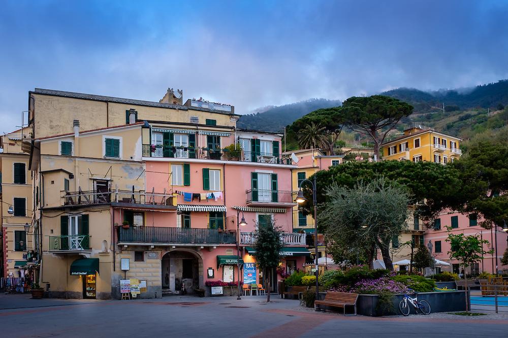 MONTEROSSO AL MARE, ITALY - CIRCA MAY 2015:  View of main piazza in Monterroso Al Mare in Cinque Terre, Italy.