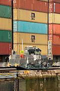 A locomotive at Miraflores Locks. Panama Canal, Panama City, Panama, Central America.