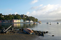 Isle of Mull Colourful harbour cottages in Tobermory, from across the bay