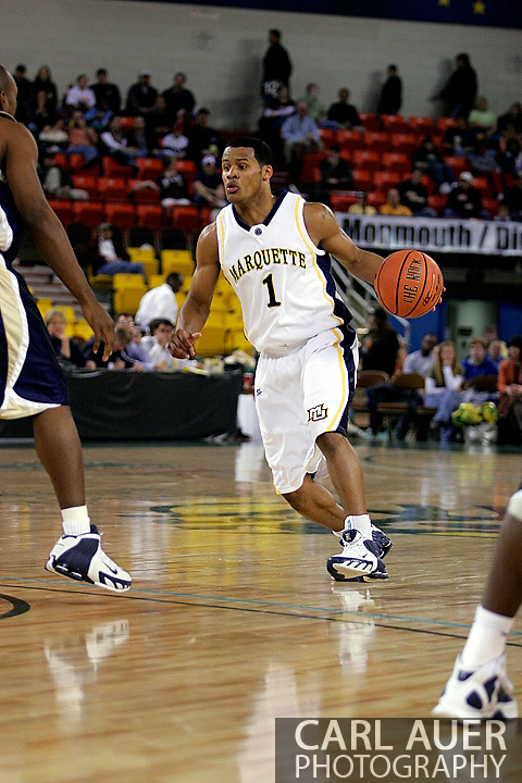 25 November 2005: Marquette Golden Eagle Dominic James (1), a freshman guard, drives at the top of the key in the Marquette University 73-70 victory over Oral Roberts University at the Great Alaska Shootout in Anchorage, Alaska