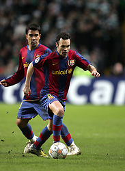 Andres Iniesta attacks as Deco watches on. Celtic v Barcelona, Uefa Champions League, Knockout phase, Celtic Park, Glasgow, Scotland. 20th February 2008.