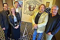 Dan Haggerty, second from right, played Grizzly Adams in the 1970's television show, was joined by Thom Pace, who wrote the theme song for the show, Wednesday during a press conference announcing future ventures for the Grizzly Adams brand franchise. Also photographed are Terry Bomar, Haggerty's manager, Julie Magnuson, CEO of Grizzly Adams brand franchise, and Tod Swindell, COO ofGrizzly Adams brand franchise.