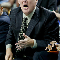 October 29, 2010; New Orleans, LA, USA; Denver Nuggets head coach George Karl yells to his team from the bench during the third quarter against the New Orleans Hornets at the New Orleans Arena.  Mandatory Credit: Derick E. Hingle