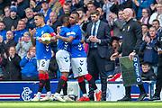 Alfredo Morelos (#20) of Rangers FC replaces Jermain Defoe (#9) of Rangers FC during the Ladbrokes Scottish Premiership match between Rangers FC and Hibernian FC at Ibrox, Glasgow, Scotland on 5 May 2019.