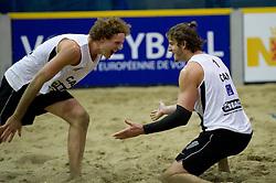 08-01-2011 VOLLEYBAL: CEV SATELLITE INDOOR BEACHVOLLEYBALL: AALSMEER<br /> The first CEV Indoor beachvolleyball tournament / Chaim Schalk (L), Martin Reader CAN<br /> ©2011-WWW.FOTOHOOGENDOORN.NL / Peter Schalk