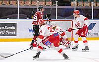 2020-01-19 | Umeå, Sweden:Teg (24) Kim Sehlstedt score 2-0 to Teg in AllEttan during the game  between Teg and Vallentuna at A3 Arena ( Photo by: Michael Lundström | Swe Press Photo )<br /> <br /> Keywords: Umeå, Hockey, AllEttan, A3 Arena, Teg, Vallentuna, mltv200119