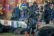 Ronnie Moore (Hartlepool United) watches on during the Sky Bet League 2 match between Accrington Stanley and Hartlepool United at the Fraser Eagle Stadium, Accrington, England on 19 January 2016. Photo by Mark P Doherty.