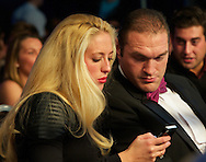 Picture by Alan Stanford/Focus Images Ltd +44 7915 056117<br /> 16/11/2013<br /> Tyson Fury attends the fight between James Degale v Dyah Davis for the <br /> WBC super-middleweight title at Glow Bluewater, Greenhithe.