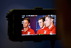 CARDIFF, WALES - Wednesday, August 31, 2016: Wales' Champions League players Andy King, Gareth Bale and Ben Davies during a gala dinner at the Cardiff Museum to launch the UEFA Champions League Finals 2017 to be held in Cardiff. (Pic by David Rawcliffe/Propaganda)