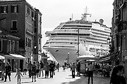 Big ships  in Venice - Black and White<br /> <br /> HOW TO LICENCE THIS PICTURE: please contact us via e-mail at sales@xianpix.com or call our office in London +44 (0)207 1939846 for prices and terms of copyright. First Use Only ,Editorial Use Only, All repros payable, No Archiving.&copy; MARCO SECCHI