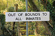 Out of Bounds to all Inmates sign, HM Prison Hollesley Bay, Suffolk, England, UK