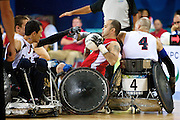 Troy Collins of Great Britain in the quad rugby semi final against the USA in the USTB Gymnasium at the Paralympic games, Beijing, China.  15th  September 2008