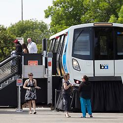 BART Model Train Car on Display in Milpitas, California