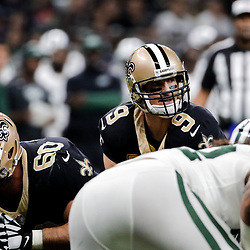 Dec 17, 2017; New Orleans, LA, USA; New Orleans Saints quarterback Drew Brees (9) against the New York Jets during the first quarter at the Mercedes-Benz Superdome. Mandatory Credit: Derick E. Hingle-USA TODAY Sports