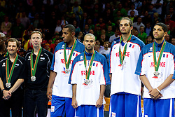 Vincent Collet, head coach of France, Boris Diaw of France, Tony Parker of France, Joakim Noah of France and Nicolas Batum of France at medal ceremony after the final basketball game between National basketball teams of Spain and France at FIBA Europe Eurobasket Lithuania 2011, on September 18, 2011, in Arena Zalgirio, Kaunas, Lithuania. Spain defeated France 98-85 and became European Champion 2011, France placed second and Russia third. (Photo by Vid Ponikvar / Sportida)