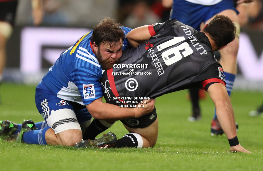 DURBAN, SOUTH AFRICA - MAY 27: Frans Malherbe of the DHL Stormers tackling Franco Marais of the Cell C Sharks during the Super Rugby match between Cell C Sharks and DHL Stormers at Growthpoint Kings Park on May 27, 2017 in Durban, South Africa. (Photo by Steve Haag/Gallo Images)