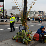 Waterloo Bridge. For up to ten days Extinction Rebellion activists occupied Waterloo Bridge, Parliament Square, Oxford Circus and Marble Arch disrupting traffic and 'normal life'. More than a thousand people were arrested before the police finally cleared the street and the International Rebellion was called to halt by the activists.  The environmental protest group Extinction Rebellion has called for civil disobedience and peaceful protest to force the British government to take drastic action on climate change. The group wants the government to tell the truth and admit that the impact of climate change is much more severe than they say and that action to mitigate catastrophic climate change is urgent.