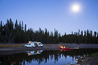 Van camping along the Cascade Lakes Scenic Byway near Bend, Oregon.