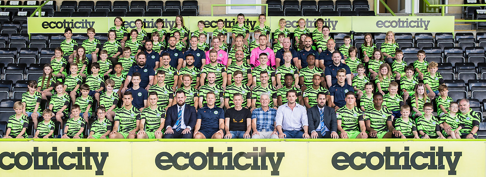 Ambassadors and 1st team during the official team photocall for Forest Green Rovers at the New Lawn, Forest Green, United Kingdom on 29 July 2019.