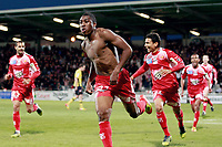 Ajaccio's forward Richard Socrier (C) celebrates after scoring a goal during the french L1 football match Ajaccio vs Sochaux in the Francois Coty stadium in Ajaccio, Corsica, on May 2, 2012. PHOTO PASCAL POCHARD-CASABIANCA / AFP / DPPI