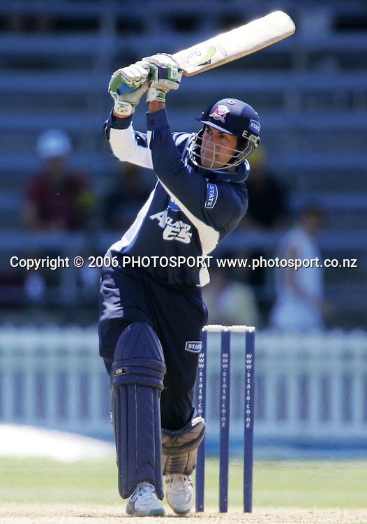 Auckland Aces batsman David Houpapa plays a shot on the onside during the State Shield semi final between the State Wellington Firebirds and the State Auckland Aces held at the Basin Reserve in Wellington, New Zealand on Tuesday, 6 February, 2007. Photo: Tim Hales/PHOTOSPORT