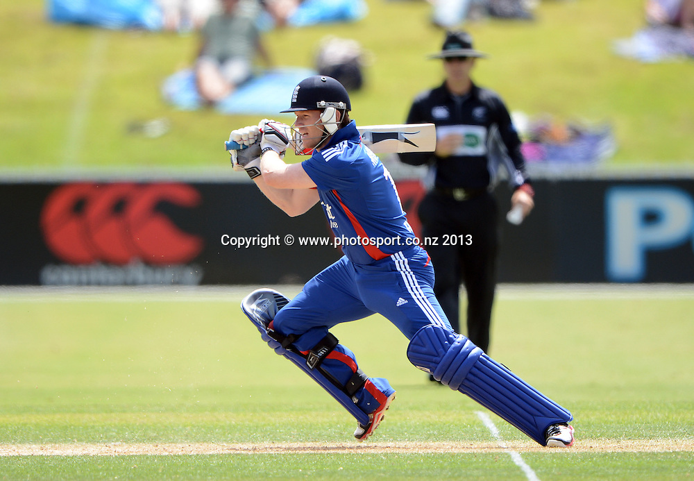 Eoin Morgan batting. Twenty20 Cricket. England v NZ XI. England Cricket tour to New Zealand. Cobham Oval. Whangarei, New Zealand on Tuesday 5 February 2013. Photo: Andrew Cornaga/Photosport.co.nz