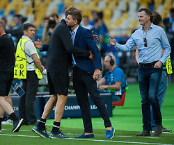 KIEV, UKRAINE - Friday, May 25, 2018: Liverpool's manager Jurgen Klopp reacts with former players Steven Gerrard and Steve McManaman during a training session at the NSC Olimpiyskiy ahead of the UEFA Champions League Final match between Real Madrid CF and Liverpool FC. (Pic by Peter Powell/Propaganda)