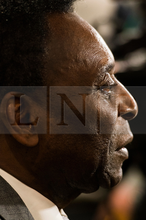 © Licensed to London News Pictures. 01/06/2016. Football player legend Pele attends Pele: The Collection with over 1,500 items of memorabilia owned by Pele for sale on later in June. London, UK. Photo credit: Ray Tang/LNP