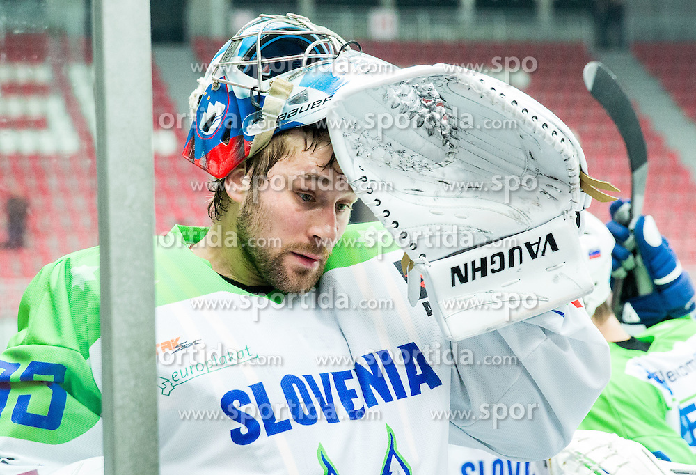 Robert Kristan of Slovenia during ice-hockey friendly match between National teams of Slovenia and Japan, on April 10, 2015 in Arena Podmezakla, Jesenice, Slovenia. Photo by Vid Ponikvar / Sportida