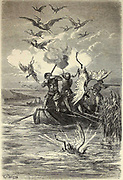 Chasse aux Phenicopteres sur le Lac d'Albufera [Bird (Flamingo) hunting at Albufera Lake] Page illustration from the book 'L'Espagne' [Spain] by Davillier, Jean Charles, barón, 1823-1883; Doré, Gustave, 1832-1883; Published in Paris, France by Libreria Hachette, in 1874