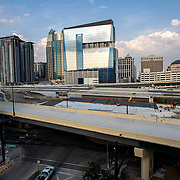 Interstate 4, the main artery for Orlando's traffic is seen at  rush hour during the Coronavirus (Covid-19) outbreak on Tuesday, April 15, 2020 in Orlando, Florida. (Alex Menendez via AP)