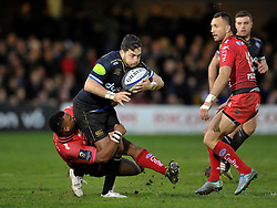 Horacio Agulla of Bath Rugby is tackled by Steffon Armitage of Toulon - Mandatory byline: Patrick Khachfe/JMP - 07966 386802 - 23/01/2016 - RUGBY UNION - The Recreation Ground - Bath, England - Bath Rugby v RC Toulon - European Rugby Champions Cup.