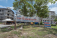 Panama City, Panama--April 19, 2018. Protest signs list protester demands n in Panama City park. Editorial use only.