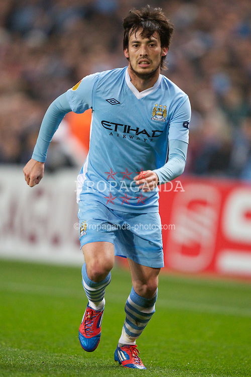 MANCHESTER, ENGLAND - Thursday, March 15, 2012: Manchester City's David Silva in action against Sporting Clube de Portugal during the UEFA Europa League Round of 16 2nd Leg match at City of Manchester Stadium. (Pic by Vegard Grott/Propaganda)