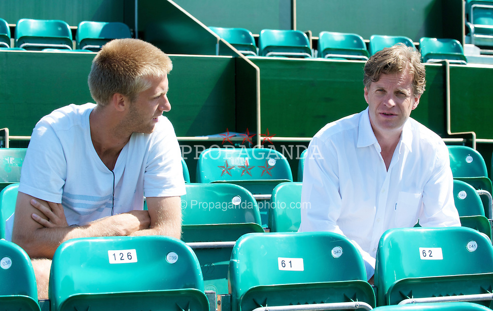 LIVERPOOL, ENGLAND - Tuesday, June 16, 2009: Anders Borg and Frederik Sletting-Johnsen (NOR) during the Tradition ICAP Liverpool International Tennis Tournament 2009 at Calderstones Park. (Pic by David Rawcliffe/Propaganda)