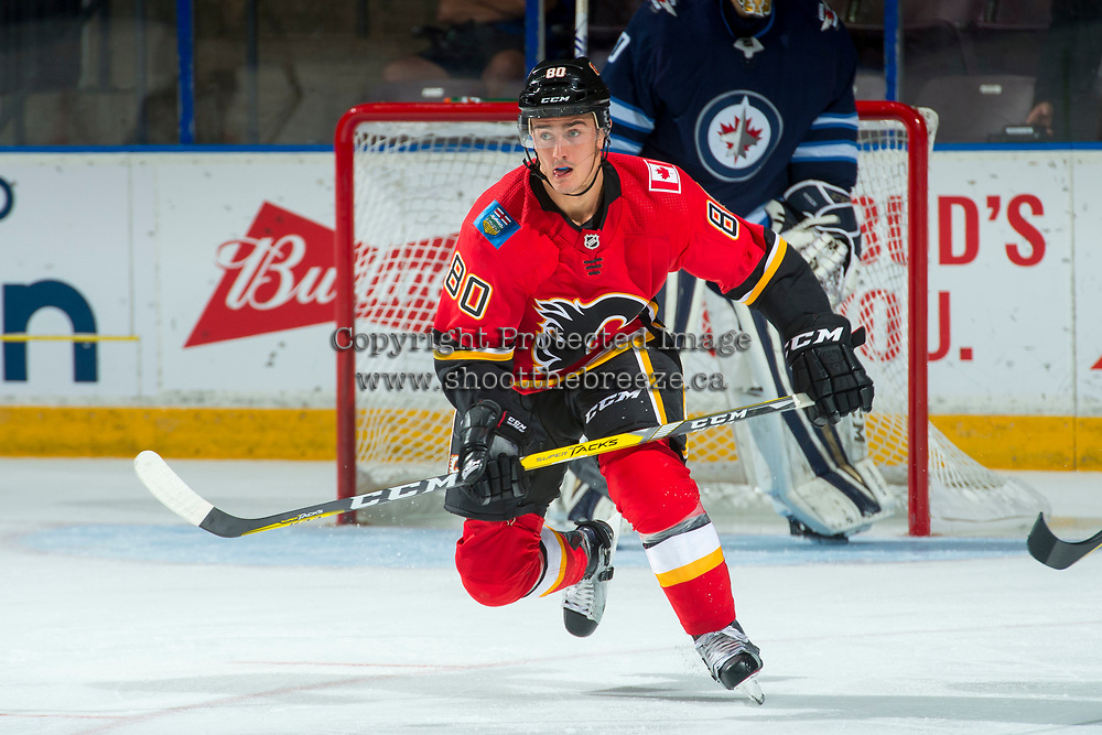 PENTICTON, CANADA - SEPTEMBER 11: Glenn Gawdin, #80 of Calgary Flames skates against the Winnipeg Jets on September 11, 2017 at the South Okanagan Event Centre in Penticton, British Columbia, Canada.  (Photo by Marissa Baecker/Shoot the Breeze)  *** Local Caption ***