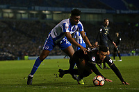 Football - 2016 / 2017 FA Cup - Third Round: Brighton and Hove Albion vs. MK Dons<br /> <br /> Brighton's Rohan Ince pushes Daniel Powell of MK Dons over in an attempt to win the ball at the Amex Stadium Brighton<br /> <br /> Colorsport/Shaun Boggust