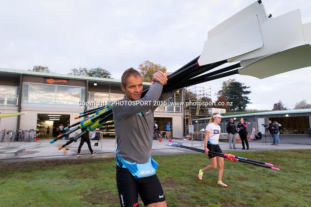 George Bridgewater (Men's Quad) at the Rowing NZ Media Day, Lake Karapiro, Cambridge, New Zealand, Wednesday 6 May 2015. Photo: Stephen Barker/Photosport.co.nz