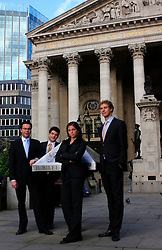 UK ENGLAND LONDON 2SEP08 - German students Katalin Siklosi, Markus Schneider (blue tie), Florian Pauthner (red tie) and Julian Giessing (yellow tie) from the disciplines of law, politics and economics visit financial institutions in the city of London. Photos taken at the Royal Exchange near the Bank of England in the city of London.jre/Photo by Jiri Rezac© Jiri Rezac 2008Contact: +44 (0) 7050 110 417Mobile:  +44 (0) 7801 337 683Office:  +44 (0) 20 8968 9635Email:   jiri@jirirezac.comWeb:    www.jirirezac.com© All images Jiri Rezac 2008 - All rights reserved.