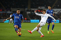 Leicester City's Danny Simpson (left) and Swansea City's Jordi Amat during the Premier League match at the Liberty Stadium, Swansea.
