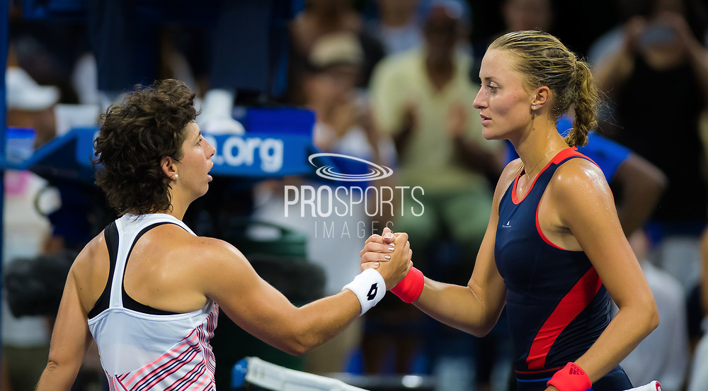 Carla Suarez Navarro of Spain an Kristina Mladenovic of France at the net after their second round match at the 2018 US Open Grand Slam tennis tournament, at Billie Jean King National Tennis Center in Flushing Meadow, New York, USA, August 30th 2018, Photo Rob Prange / SpainProSportsImages / DPPI / ProSportsImages / DPPI